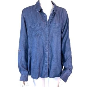 Jane and Delancey Chambray Button Up Top